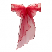 Chair Cover Hire With Burgundy Organza Sash